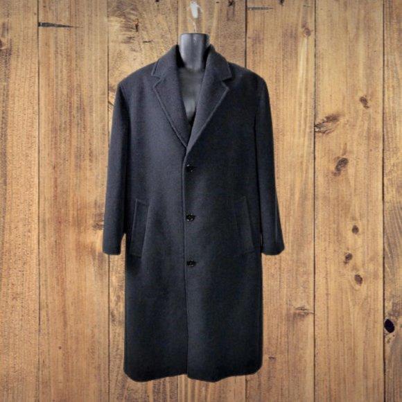 Grey Charcoal Wool Blend Overcoat Topcoat 42